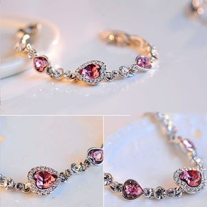New Romantic Pink/White Crystal Heart ST Bracelet